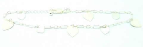 Sterling Silver 925 Chain Link Ankle / Anklet Chain with Free Dangling Hearts